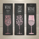 Set of art wine glass banners and labels Royalty Free Stock Photo