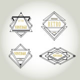 Set artdeco rocznika etykietki, logo, ramy Zdjęcia Stock