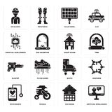 Set of Artificial intelligence, Eco house, Stethoscope, Boots, Blaster, Smart Solar panel, Vr glasses icons. Set Of 16 simple  icons such as Artificial Stock Image