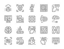 Set of Artificial Intelligence Line Icons. Chatbot, Big Data, Database and more. royalty free illustration