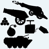 Set artillery, cannon, tank and bombs. Isolated on blue background. Vector silhouettes Stock Photos