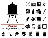 Set of 24  Artist Icons. In Black Color.Vector illustration Stock Image