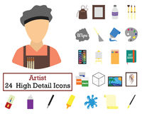 Set of 24  Artist Icons. Flat color design. Vector illustration Royalty Free Stock Image