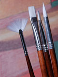 A set of artist paint brushes Stock Photos