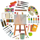 Set artist. Paint supplies equipment tools . Vector illustration design Royalty Free Stock Image