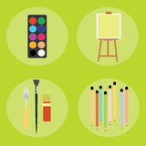 Set of artist pencils paint brush canvas palette knife Stock Images