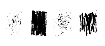 Set of artistic black grunge backgrounds. Vector texture. Dirty artistic design element. Brush stroke, splatter. Set of artistic black grunge backgrounds stock illustration