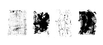 Set of artistic black grunge backgrounds. Vector texture. Dirty artistic design element. Brush stroke, splatter. stock illustration