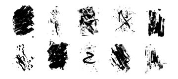 Set of artistic black grunge backgrounds. Vector texture. Dirty artistic design element. Brush stroke, splatter. Royalty Free Illustration