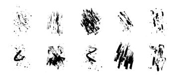 Set of artistic black grunge backgrounds. Vector texture. Dirty artistic design element. Brush stroke, splatter. royalty free illustration