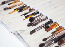 Set of artistic brushes in its case Royalty Free Stock Images