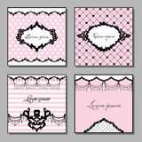 Set of artistic cards in pink and black colors. Vintage style vector illustration. Royalty Free Stock Image