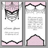 Set of artistic cards in pink and black colors. Vintage style vector illustration. Royalty Free Stock Photo