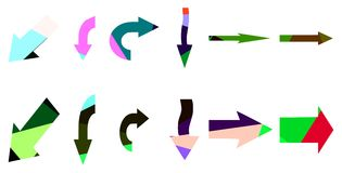 Set of artistic colorful arrows isolated Stock Photography