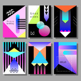 Set of artistic colorful cards. Memphis trendy style. Covers with flat geometric pattern. Stock Photos