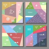 Set of artistic colorful cards. Memphis trendy style. Covers with flat geometric pattern. Cool colorful backgrounds. Vector illustration Stock Photos
