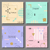 Set of artistic colorful cards. Memphis trendy style. Covers with flat geometric pattern. Cool colorful backgrounds. Vector illustration Royalty Free Stock Photo