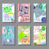 Set of artistic colorful cards. Memphis trendy style. Covers with flat geometric pattern. Cool colorful backgrounds. Vector illustration Royalty Free Stock Image