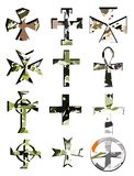 Set of artistic colorful Crosses isolated Stock Image