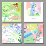 Set of artistic colorful universal cards. Brush textures.  Brush textures.  Memphis style. Stock Photos