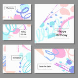 Set of artistic colorful universal cards. Brush textures. Stock Photos