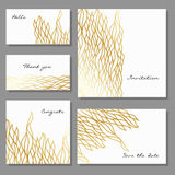 Set of artistic colorful universal cards. Brush textures. Royalty Free Stock Photo