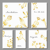 Set of artistic colorful universal cards. Brush textures. Stock Photography