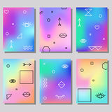 Set of artistic colorful universal cards. Brush textures. Royalty Free Stock Image