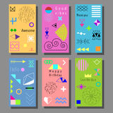 Set of artistic colorful universal cards. Brush textures. Royalty Free Stock Images