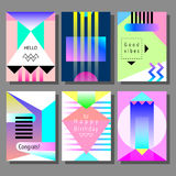 Set of artistic colorful universal cards. Memphis style. Stock Photos