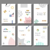 Set of artistic colorful universal cards. Memphis style. Wedding, anniversary, birthday. Royalty Free Stock Image
