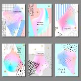 Set of artistic colorful universal cards. Memphis style. Wedding, anniversary, birthday. Stock Images