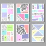 Set of artistic colorful universal cards. Memphis style. Wedding, anniversary, birthday. Stock Photos