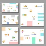 Set of artistic colorful universal cards. Memphis style. Wedding, anniversary, birthday. Royalty Free Stock Photos