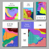 Set of artistic colorful universal cards. Wedding, anniversary, birthday, holiday, party. Stock Photos