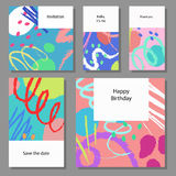 Set of artistic colorful universal cards. Wedding, anniversary, birthday, holiday, party. Royalty Free Stock Photography