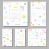 Set of artistic colorful universal cards. Wedding, anniversary, birthday, holiday, party. Stock Photography