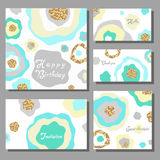 Set of artistic colorful universal cards. Wedding, anniversary, birthday, holiday, party Stock Image