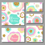 Set of artistic colorful universal cards. Wedding, anniversary, birthday, holiday, party Royalty Free Stock Photo