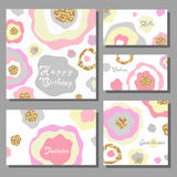 Set of artistic colorful universal cards. Wedding, anniversary, birthday, holiday, party Stock Photos