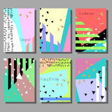 Set of artistic colorful universal cards. Wedding, anniversary, birthday, holiday, party. Design for poster, card, invitation Royalty Free Stock Image