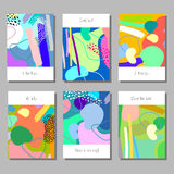 Set of artistic colorful universal cards. Wedding, anniversary, birthday, holiday, party. Design for poster, card, invitation. Set of artistic colorful universal Royalty Free Stock Images