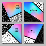 Set of artistic colorful universal cards. Wedding, anniversary, birthday, holiday, party. Stock Image