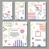 Set of artistic colorful universal cards. Wedding, anniversary, birthday, holiday, party. Design for poster, card, invitation. Vector illustration Royalty Free Stock Image