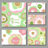 Set of artistic colorful universal cards. Wedding, anniversary, Stock Image