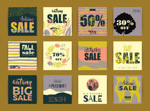 Set of artistic creative autumn sale cards. Royalty Free Stock Photo