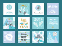 Set of artistic creative Merry Christmas and New Year cards. Stock Image