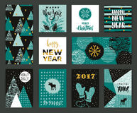 Set of artistic creative Merry Christmas and New Year cards. Royalty Free Stock Photography