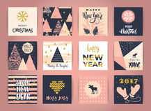Set of artistic creative Merry Christmas and New Year cards. Royalty Free Stock Image