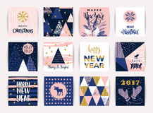Set of artistic creative Merry Christmas and New Year cards. Stock Photography